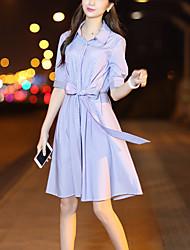 Camicia Vestito Da donna-Per uscire Ufficio Moda città A strisce Colletto Al ginocchio Mezza manica Cotone Poliestere Estate AutunnoA