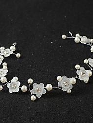Handmade Flower Pearl Crystal Alloy Headpiece-Wedding Special Occasion Headbands Hair Combs Head Chain 1 Piece Length 35cm