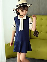 Mädchen Kleid Modisch Einheitliche Farbe Polyester Baumwollmischung Sommer 1/2 Ärmel