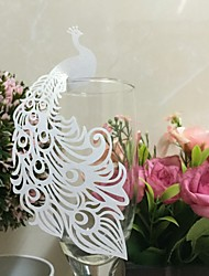 50psc/lot Beautiful Peacock Paper Place Card Laser Cut Wine Glass Card Engagement Party Decorations