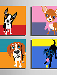 cheap -E-HOME® Stretched Canvas Art Lovely Dog Series Decoration Painting MINI SIZE One Pcs