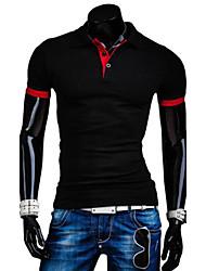 Herren T-shirt-Einfarbig Freizeit Baumwolle Kurz-Schwarz / Blau / Rot / Weiß / Grau