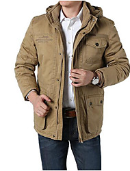cheap -Men's Cotton Jacket - Solid Colored Hooded