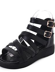 Dámské Sandály Pohodlné hrbit boty PU Léto Ležérní Chůze Pohodlné hrbit boty Pletený řemínek Plochá podrážka Bílá Černá Plochý