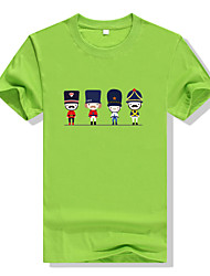 Men's Round Neck Large Size Candy Colors Character Cartoon Printing Fast-drying Short-sleeved Sports Fitness Cotton T-shirt