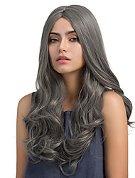 Enchanting Fashion Grey Midsplit Long Curly Hair Synthetic Wigs
