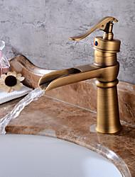 billige -Centersat Vandfald Keramik Ventil Et Hul Antik Kobber, Håndvasken vandhane
