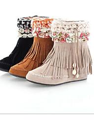 Damen Schuhe Echtes Leder PU Herbst Winter Komfort Modische Stiefel Stiefel Für Normal Schwarz Beige Gelb