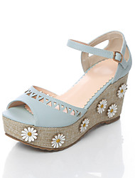 Women's Sandals Basic Pump PU Summer Wedding Casual Office & Career Party & Evening Dress Basic Pump Applique Wedge HeelLight Blue Purple