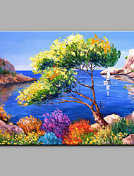 Hand-Painted Mediterranean Landscape Seaview One Panel Canvas Oil Painting For Home Decoration