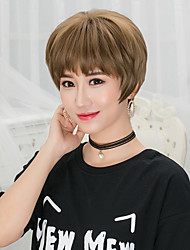 cheap -Women Short Flaxen Dark Brown Chestnut Brown Ash Brown Grey Straight Bob Haircut Pixie Cut With Bangs Synthetic Hair CaplessNatural Wig