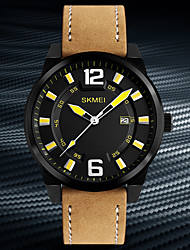 Недорогие -Муж. Нарядные часы Модные часы Японский Кварцевый Календарь Защита от влаги Натуральная кожа Группа На каждый день Cool Хаки