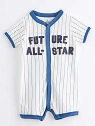 tanie Modna odzież dziecięca-Dziecko Jednoczęściowe Bawełna Dla chłopców Naszywka Lato Krótki rękaw Prążki White