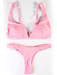 abordables -Mujer Un Color Halter Bikini Bañadores Floral Escote Con Lazo Rosa