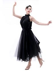 Latein-Tanz Damen Aufführung Chinlon Satin - Chiffon 1 Stück Ärmellos Tops