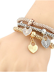 Недорогие -Жен. Девочки Браслеты-цепочки и звенья Браслет цельное кольцо Wrap Браслеты Синтетический алмаз Природа Дружба Железный сплав Сердце