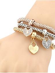 Women's Girls' Chain Bracelet Bangles Wrap Bracelet Imitation Diamond Natural Friendship Ferroalloy Heart Jewelry ForWedding Party