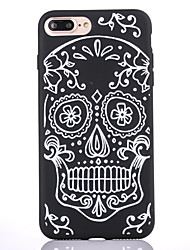 cheap -Case For Apple iPhone 7 7 Plus Case Cover Skeleton Pattern Scrub Black Thicker TPU Material Soft Case Phone Case 6S 6 Plus SE 5S 5