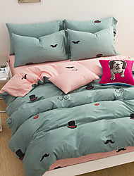 Duvet Cover Sets Solid 4 Piece Cotton Cloth Machine Made Cotton Cloth 1pc Duvet Cover 2pcs Shams 1pc Flat Sheet