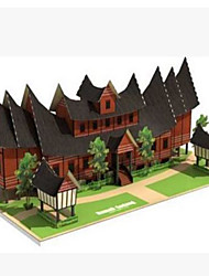 cheap -3D Puzzles Toys Square Famous buildings House Architecture 3D DIY Hard Card Paper Not Specified Pieces