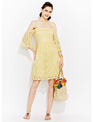 cheap -Women's Street chic Sheath Dress - Solid Colored Floral Embroidered