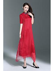 Largo Swing Vestito Da donna-Per uscire Casual Vintage Semplice Tinta unita Colletto alla coreana Asimmetrico Mezza manica Seta Altro