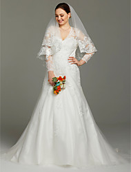 cheap -A-Line V-neck Court Train Lace Satin Tulle Wedding Dress with Appliques by LAN TING BRIDE®