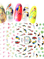 1pcs Lovely Nail Art 3D Sticker Cute Animal Pink Flamingo Parrot Green Leaves Creative Design Decoration For DIY Beauty F247