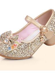 cheap -Girls' Flats Comfort Flower Girl Shoes Summer Fall PU Dress Sequin Flat Heel Gold Silver Blue Flat