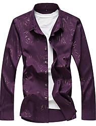 Недорогие -Муж. Большие размеры - Рубашка Шинуазери (китайский стиль) Цветочный принт