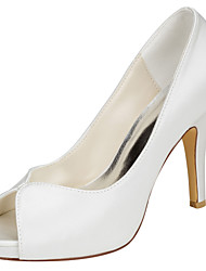 Women's Heels Basic Pump Stretch Satin Summer Party & Evening Dress Basic Pump Stiletto Heel Ivory 4in-4 3/4in