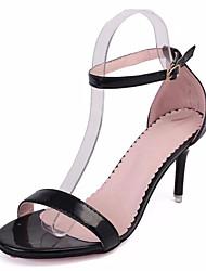 Damen High Heels Pumps Lackleder PU Sommer Normal Kleid Walking Pumps Schnalle Stöckelabsatz Weiß Schwarz Silber 12 cm & mehr