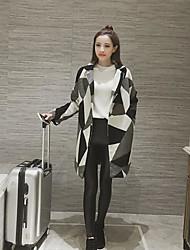 Damen Einfarbig Einfach Lässig/Alltäglich Mantel,Gekerbtes Revers Herbst Lange Ärmel Standard Andere