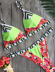 Femme Licou Bikinis Couleur Pleine Fleur Rubans Imprimé