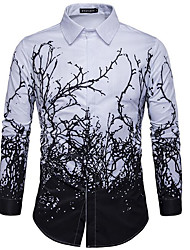 cheap -Men's Work Slim Shirt - Floral Black & White, Print Spread Collar / Long Sleeve