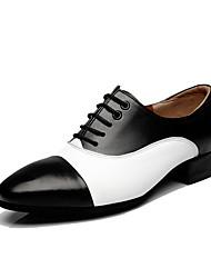 Men's Latin Real Leather Heels Professional Black/White Brown/White