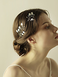 3D Simulation Leaf Headpiece-Wedding Special Occasion Anniversary Birthday Party/ Evening Hair Pin (a set of 2 Pieces)