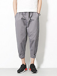 cheap -Men's Mid Rise Inelastic Harem Wide Leg Chinos Pants,Vintage Casual Solid Summer