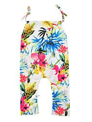 Baby Fashion Floral Print One-Pieces Cotton Summer Sleeveless Suspension Baby Girls Romper Bodysuits Kids Girls Jumpsuits