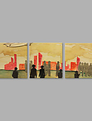 abordables -Pintada a mano Personas Horizontal,Artístico Tres Paneles Lienzos Pintura al óleo pintada a colgar For Decoración hogareña