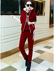 Sweat à capuche Pantalon Costumes Femme,Mot / Phrase Décontracté / Quotidien simple Hiver Manches longues Micro-élastique