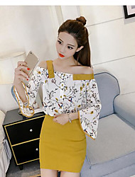Women's Daily Going out Work Casual Birthday Casual/Daily Summer Blouse Skirt Suits,Floral Off Shoulder Long Sleeve Chiffon Chiffon