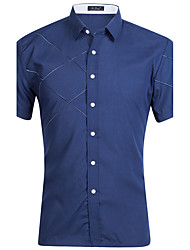 cheap -Men's Sports Street chic Cotton Shirt - Striped Color Block Standing Collar