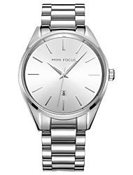 abordables -Hombre Cuarzo Reloj de Collar Gran venta Acero Inoxidable Banda Casual Moda Negro Plata
