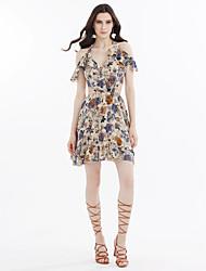 cheap -Women's Cute Boho Chiffon Swing Dress - Floral Backless
