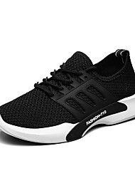 cheap -Men's Sneakers Comfort Fall Winter Breathable Mesh Tulle Fabric Athletic Outdoor Lace-up Flat Heel White Black Gray Flat