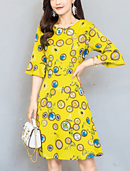 Women's Going out Simple Street chic Slim Thin A Line Chiffon Dress Print Round Neck Knee-length Half Sleeve Flare Sleeve Summer Mid Rise Yellow