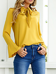 Women's Daily Cute Sexy Winter Fall Shirt,Solid Round Neck Long Sleeves Cotton Polyester Medium