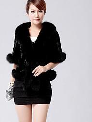 Cappotto di pelliccia Da donna Casual Semplice Inverno,Tinta unita Colletto Altro Pelliccia di volpe Corto Mezze maniche