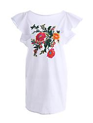 abordables -Mujer Camiseta Vestido Diario Festivos Noche Playa Casual,Bordado Escote Redondo Sobre la rodilla Manga Corta Algodón Poliéster Verano